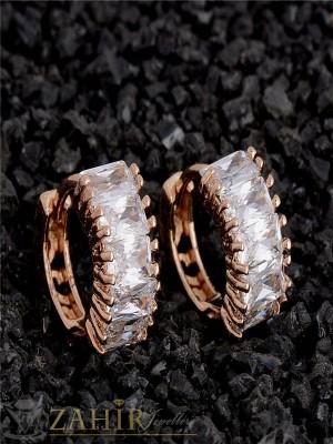 Изящни бели кристални обеци халки - 1,6 см, златно покритие, английско закопчаване - O2119