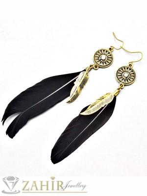 Ефектни обеци с черни пера с цвят старинно злато, дълги - 9 см - O2127