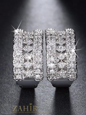 Висококачествени нежни блестящи малки халки 2 см с красиви бели кристали - O2131