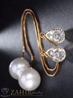 Двустранно висящи обеци 11 см с кристал и перла, златно покритие - O2133