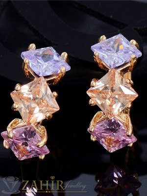 Красиви многоцветни кристални обеци - 1,5 см, златно покритие, английско закопчаване - O2139