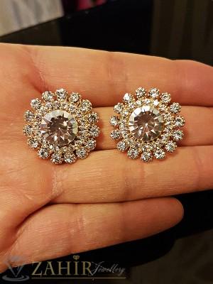 Блестящи кристални обеци 2,5 см със златно покритие на винт - O2145