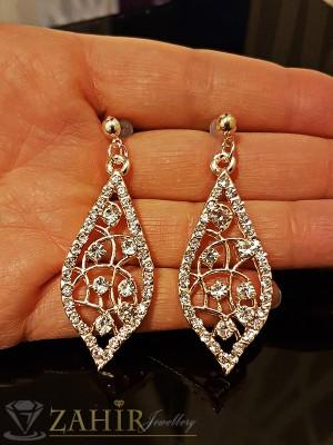 Изящно изработени висящи обеци 5 см с красиви бели кристали, златно покритие на винт - O2148