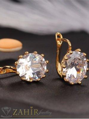 Елегантни обеци - 1,5 см с голям бял кристал, златно покритие, английско закопчаване - O2186