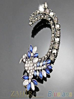 1 брой обеца по ухото с бели, сини и графитени кристали, оксидирана, на винт - O2189