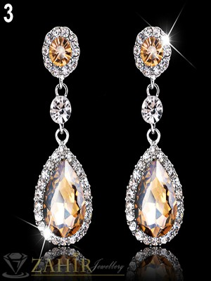 Луксозни блестящи обеци - 5 см с голям кехлибарен кристал, платинено покритие, на винт - O2196