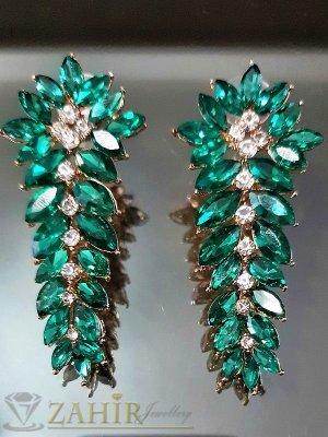 Луксозни блестящи обеци - 5 см с голям виолетов кристал, платинено покритие, на винт - O2198