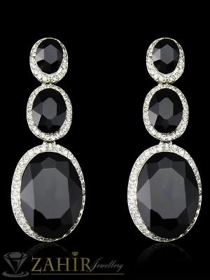 Официални кристални висящи 6 см обеци с големи черни кристали, сребърно покритие - O2221