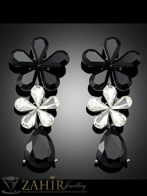 Кристални черно бели цветя обеци 6 см с кристали, на винт - O2223