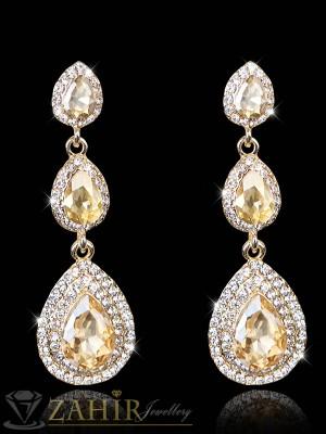 Блестящи луксозни официални обеци 7 с кехлибарени кристали, златно покритие - O2227