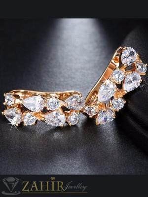 Висококачествени кристални 2,5 см обеци, златно покритие, английско закопчаване - O2237