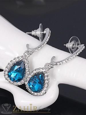 Луксозни висящи 5 см обеци със син кристал, сребърно покритие, на винт - O2241