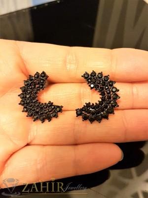Нежни обеци тип дъги 1.5 см с малки черни кристали, на винт - O2259
