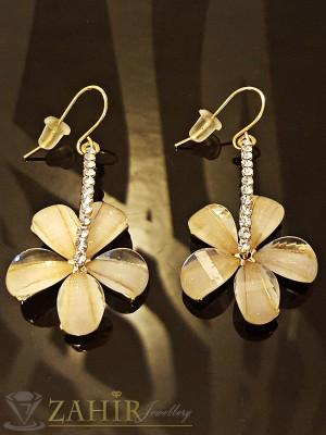 Елегантни висящи обеци цвете с цвят шампанско и златно покритие - 4,5 см - O2005