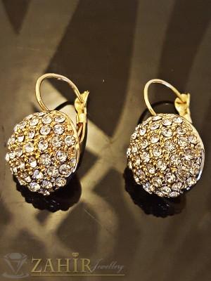 Класически обици топче с кристали и златно покритие - 3 см - O2007