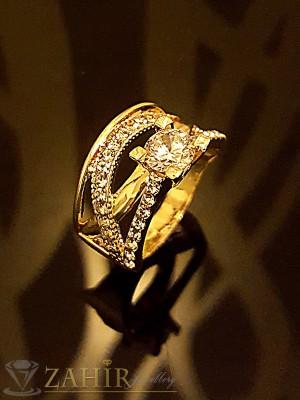 Класически двоен пръстен, халка с кристали и циркон, златно покритие - P1419