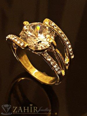 2016 топ хит класически пръстен с голям циркон и златно покритие - P1303