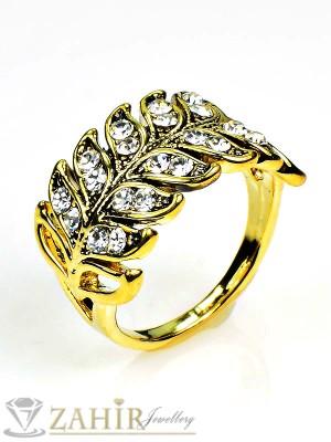 Романтичен позлатен пръстен с бели кристални листа, тип старо злато - P1374