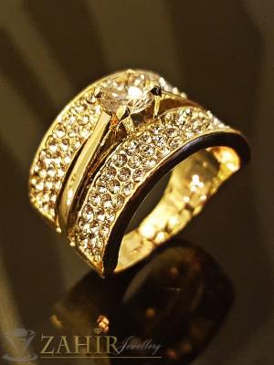 Великолепен троен пръстен тип халка, обсипан с кристали, златно покритие - P1400