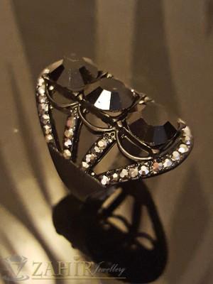 Стилен черен пръстен с графитени и черни кристали - P1409
