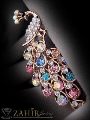 Луксозна брошка 6 см цветен паун с великолепни кристали и златно покритие - B1073