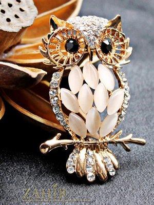 Елегантна брошка Сова - 5,5 см с камъни котешко око, златно покритие - B1074