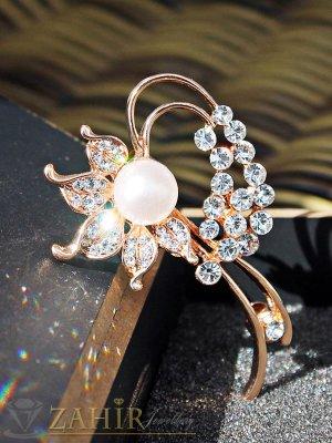 Елегантна брошка перлено цвете - 5 см, златно покритие - B1077