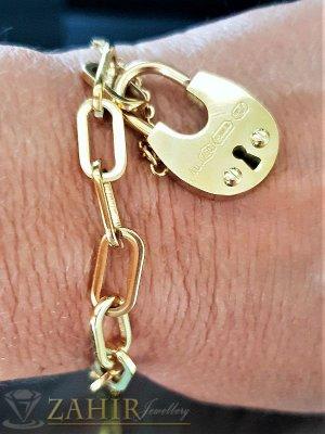 Позлатена стоманена верижка с висулка катинарче, регулира се до 21 см дължина - G1830