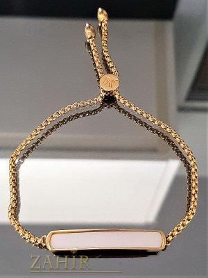Позлатена стоманена верижка с бяла плочка 4 см, регулира се до 23 см дължина- G1831