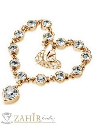 Романтична гривна 18 + 6 см с висулка сърце, бели кристали, златно покритие - G1836