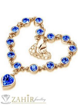Романтична гривна 18 + 6 см с висулка сърце, сини кристали, златно покритие - G1837