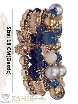 Четворна ластична гривна със сини и златисти кристали и мъниста, златно покритие - G1838