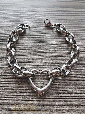 Висококачествена стоманена гривна със сърце, стилна верижка, 3 размера - G1841