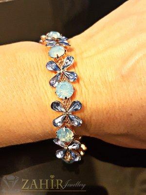 Луксозна висококачествена кристална гривна 18+6 см с изящни сини кристали - G1845