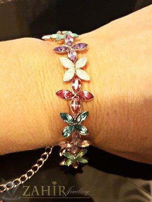 Луксозна висококачествена кристална гривна 18+6 см с изящни цветни кристали - G1846
