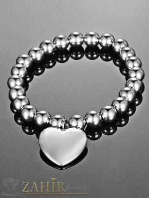 Висококачествена ластична стоманена гривна - 18 см с висулка сърце 2 см - G1862