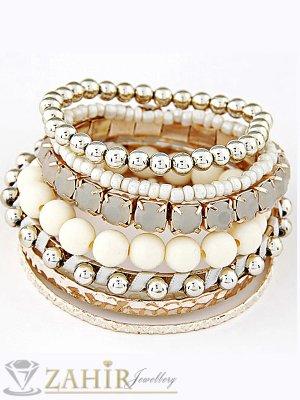 9 броя златно-бели гривни с кристали и мъниста и твърди гривни, стандартен размер 18 см - G1869