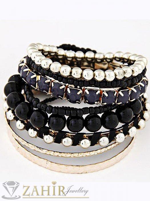 9 броя златно-черни гривни с кристали и мъниста и твърди гривни, стандартен размер 18 см - G1870
