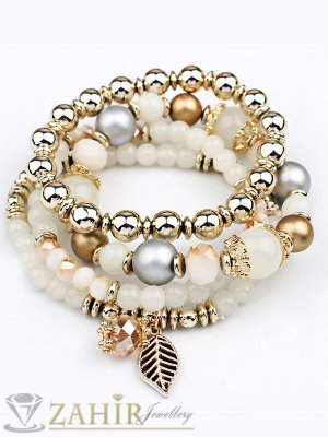 4 броя ръчно низани ластични гривни в златно бяло и кехлибар с кристали, стандартна ширина - G1873