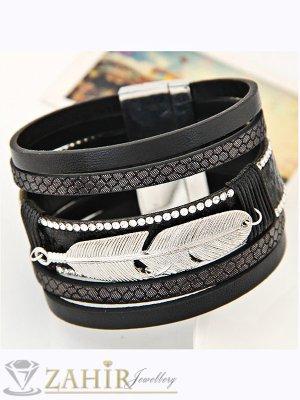 Луксозна черна кожена гривна с декорация стоманено перо, широка 4 см, дълга 18,5 см - G1875