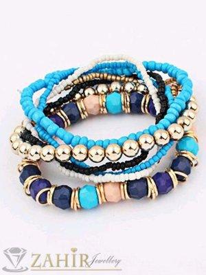 7 броя ластични сини и златни гривни с мънистени и кристални топки, регулираща се дължина - G1882