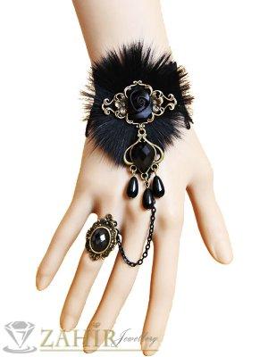 Луксозна гривна от рязана дантела 13 + 7 см черни кристали и регулиращ се пръстен - G1892