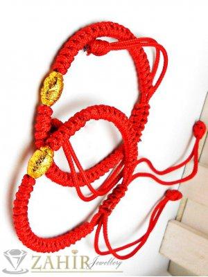 Сет от 2 броя червени плетени гривни с позлатен елемент, регулираща се дължина - G1896