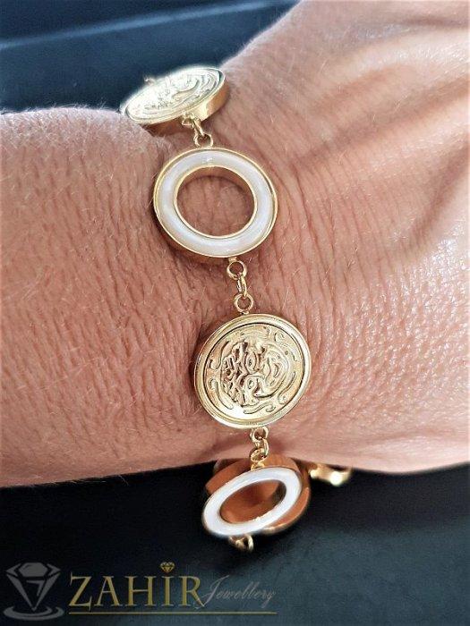 Дамски бижута - Елегантна гривна от стомана и седеф, регулира се от14 до 19 см, златно покритиее - G1898