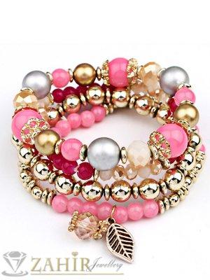 4 броя ластични ръчно низани гривни в розово, златно и кехлибарени кристали - G1905