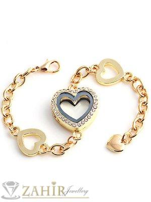 Луксозна гривна с отварящо се сърце за спомен, златно покритие, 21 см регулираща се дължина - G1915