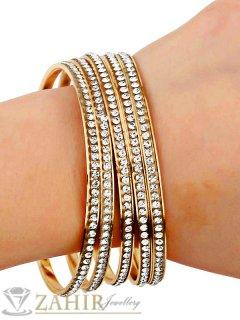 5 броя гривни тип обръч с нежни бели кристали и златно покритие, размер L - G1922