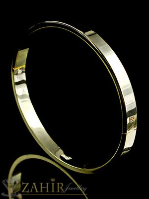 Класическа гривна тип обръч, диаметър 6 см, златно покритие - G1926