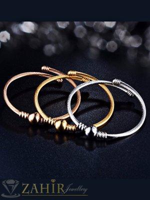 Висококачествена регулираща се класическа гривна, изчистен модел, в златно или сребърно  - G1933