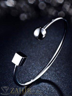 Уникална висококачествена стоманена изчистена гривна за тънка и нормална ръка 17 см - G1937
